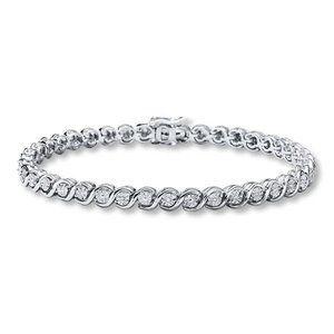 4 Carats round cut diamond tennis bracelet white s
